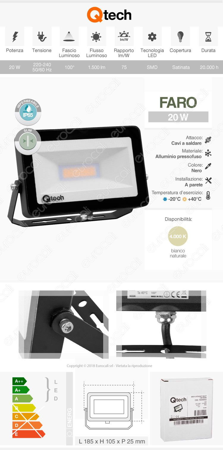 qtech Faretto da Esterno Proiettore LED SMD slim