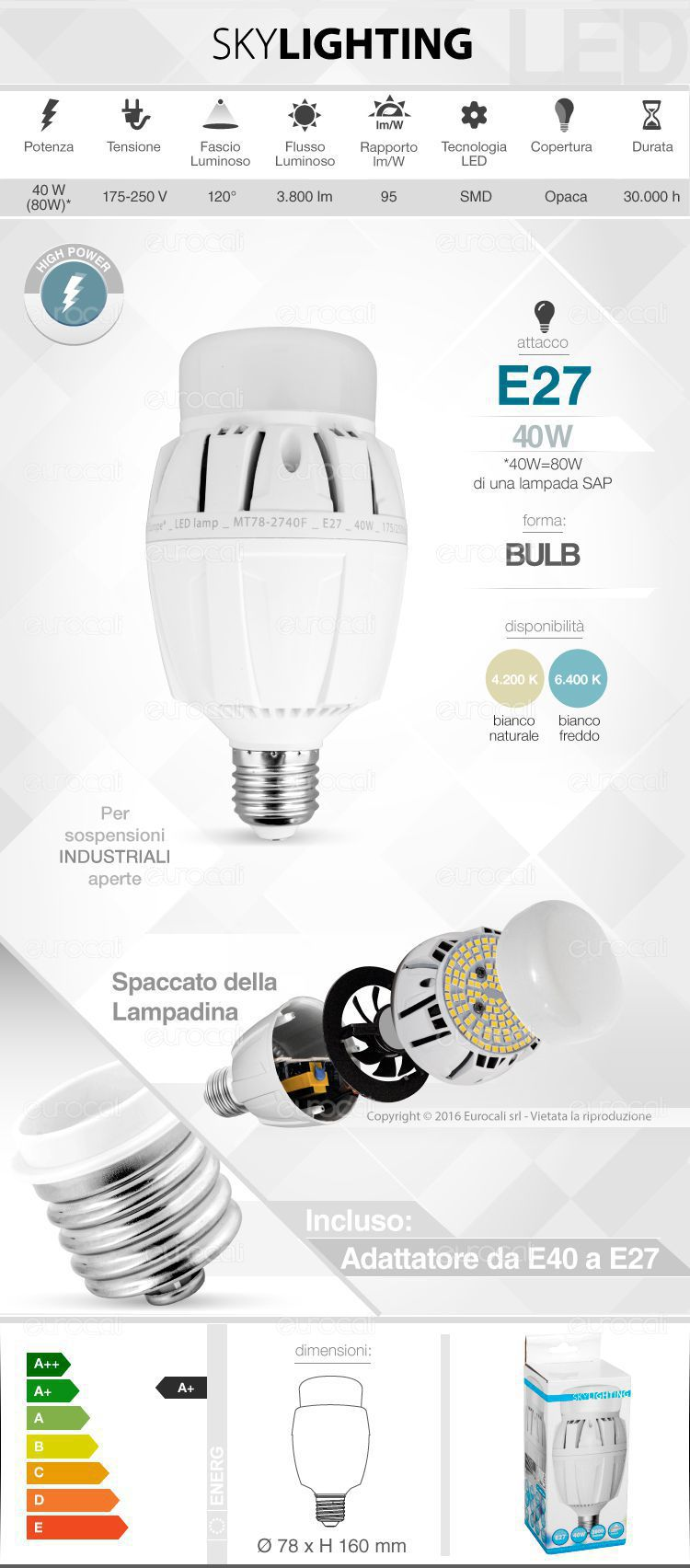 Lampadina LED SkyLighting E27