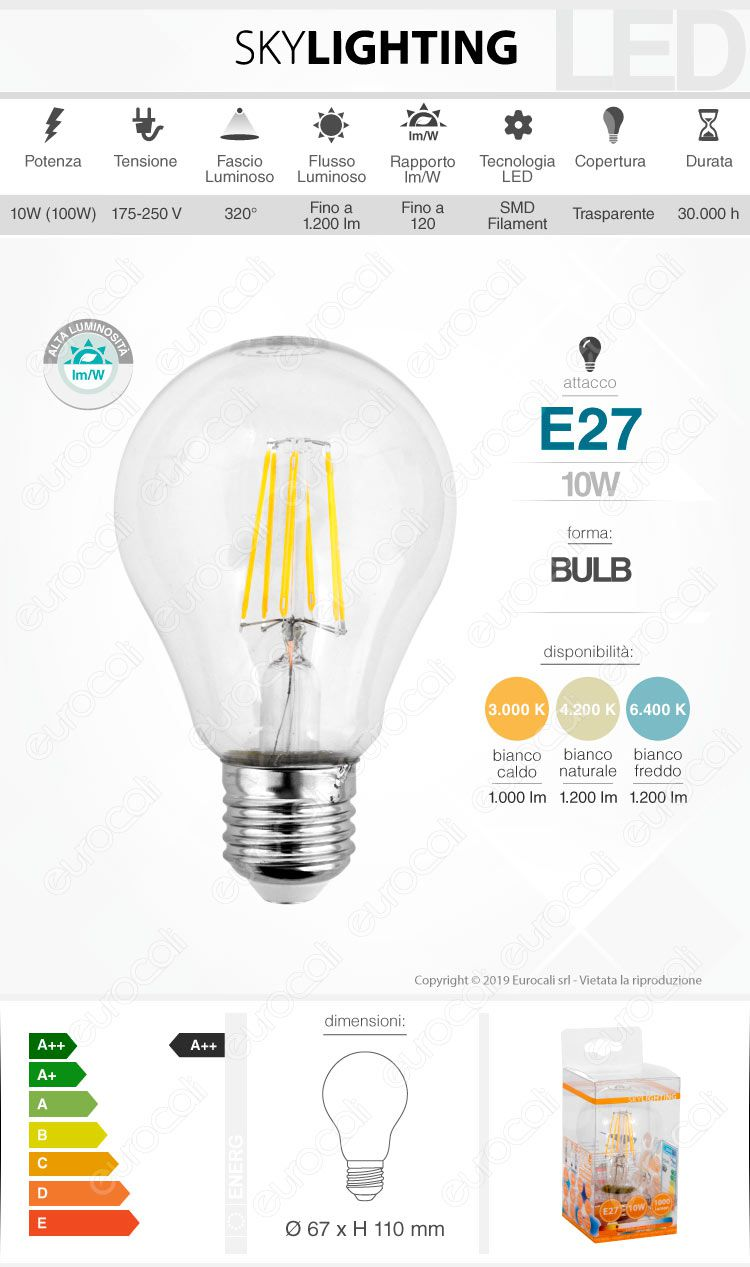 Skylighting lampadina led e27 da 10w bulb a67 filamento for Lampadina e27