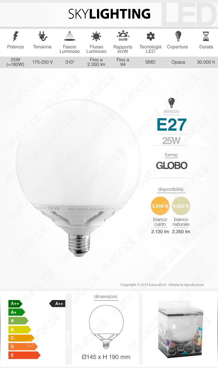 Lampadina LED Globo Skylighting E27