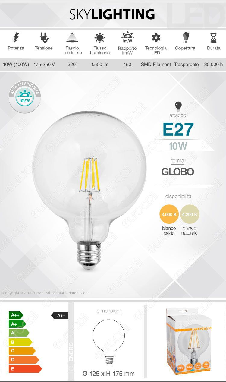Lampadina LED filamento SkyLighting E27