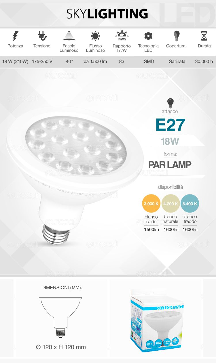 Lampadina LED PAR38 SkyLighting E27