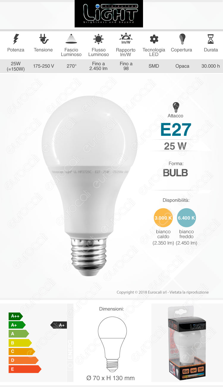 intereurope light Lampadina LED E27