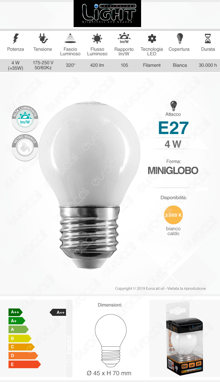 Intereurope Light Lampadina LED E27 4W MiniGlobo G45 Bianca Filamento