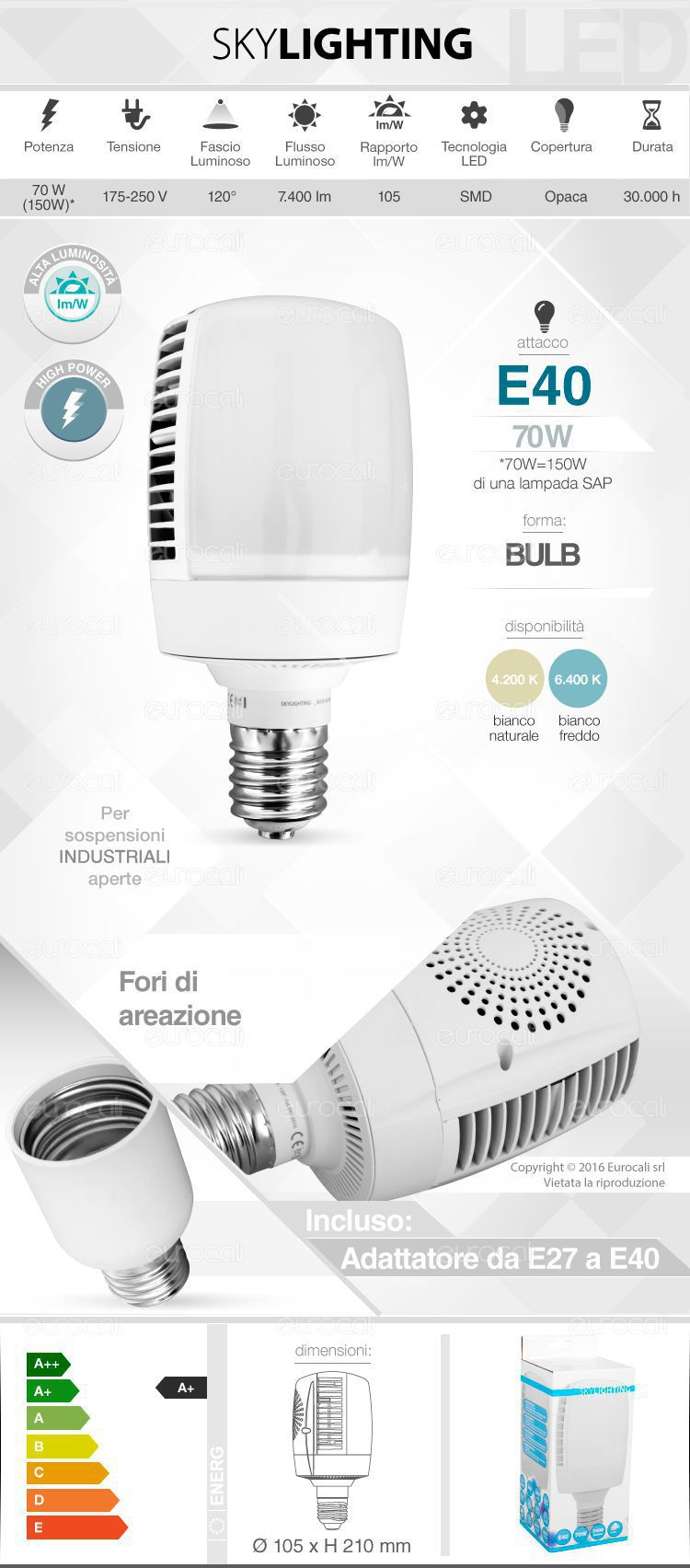 Lampadina LED SkyLighting E40