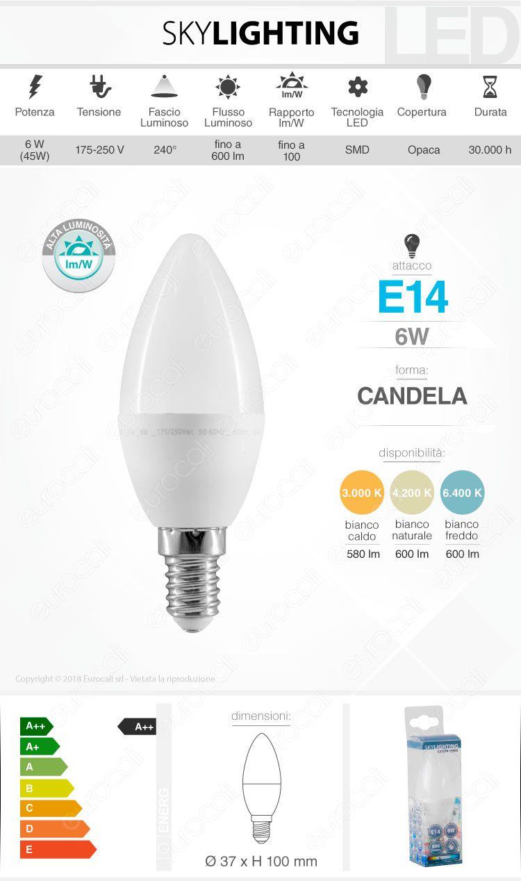Lampadina LED E14 6W Candela SkyLighting