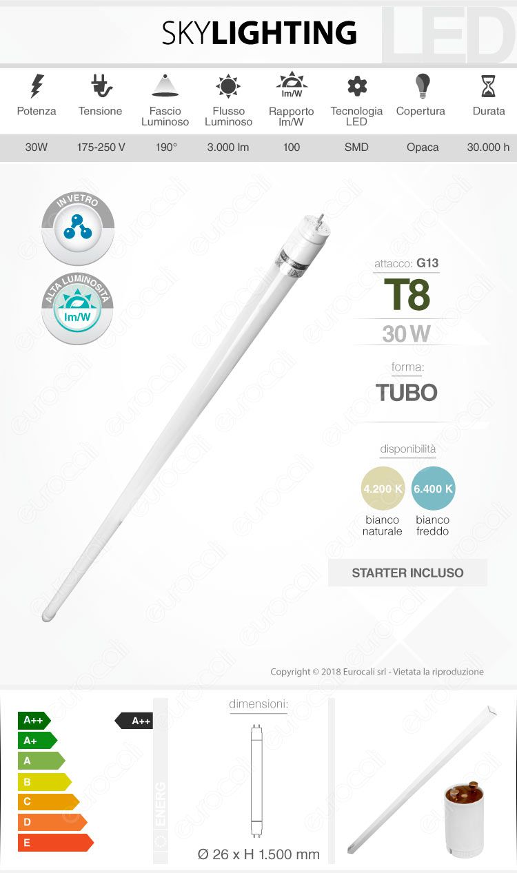 Tubo led t8 g13 skylighting