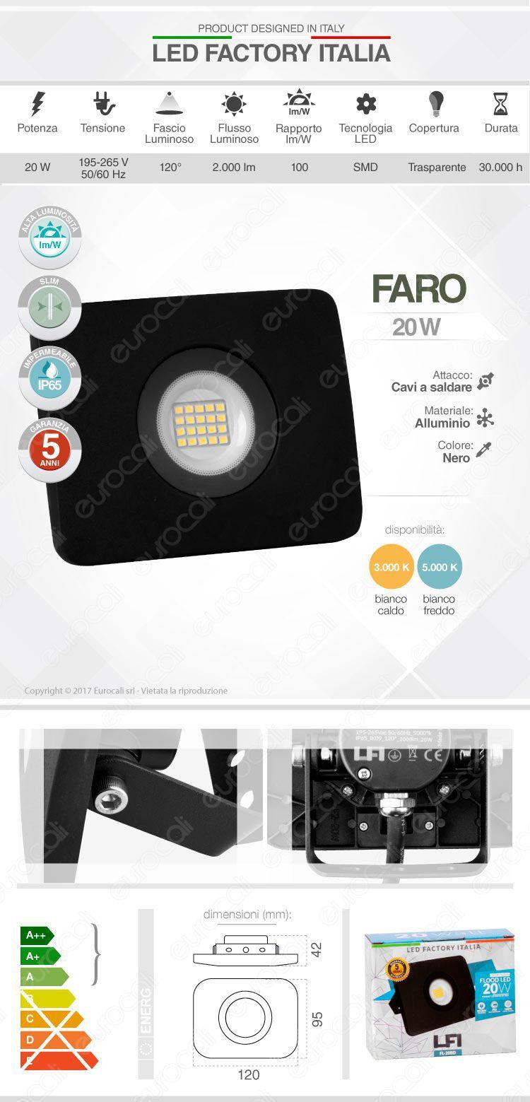 Faretto da Esterno Proiettore LED Factory Italia