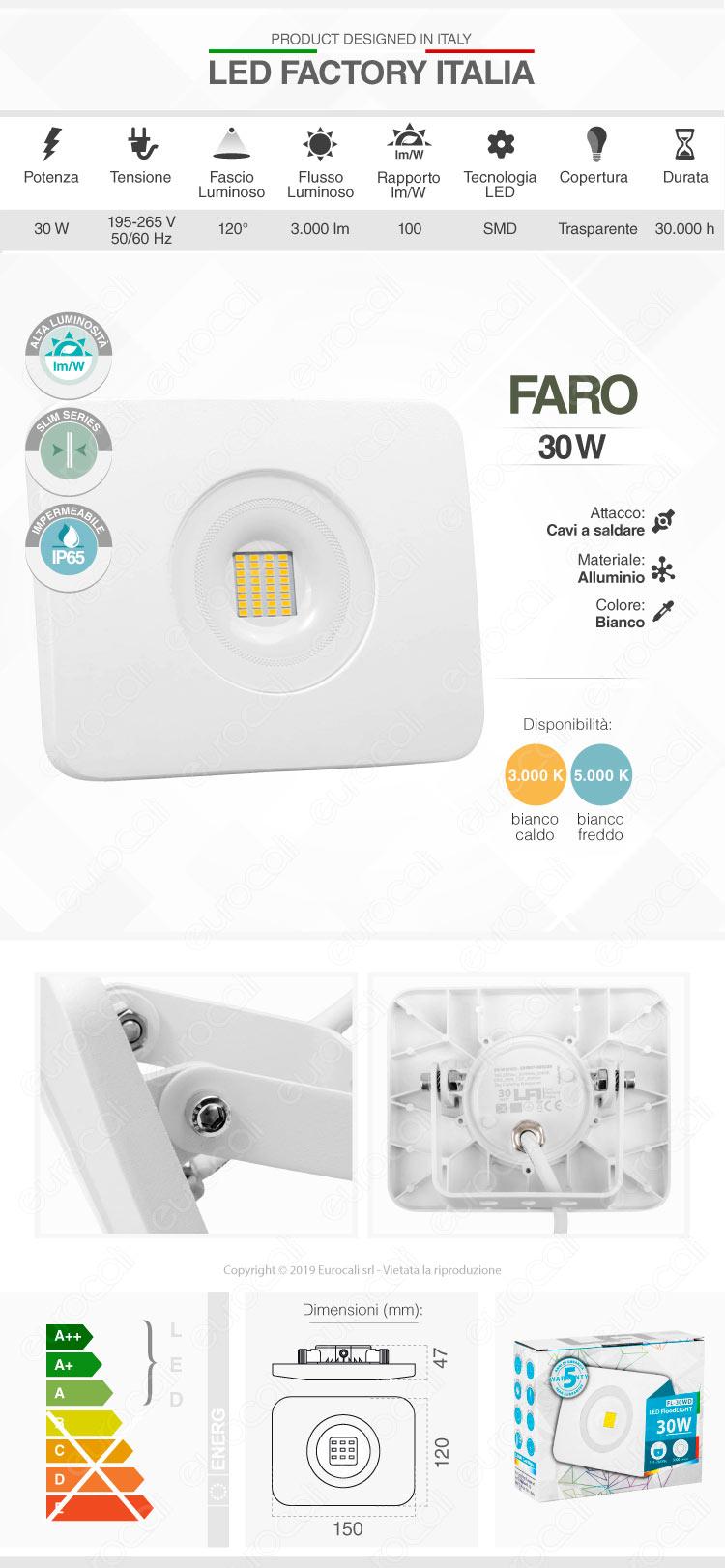 Led Factory Italia Faro LED 30W Ultra Sottile Colore Bianco