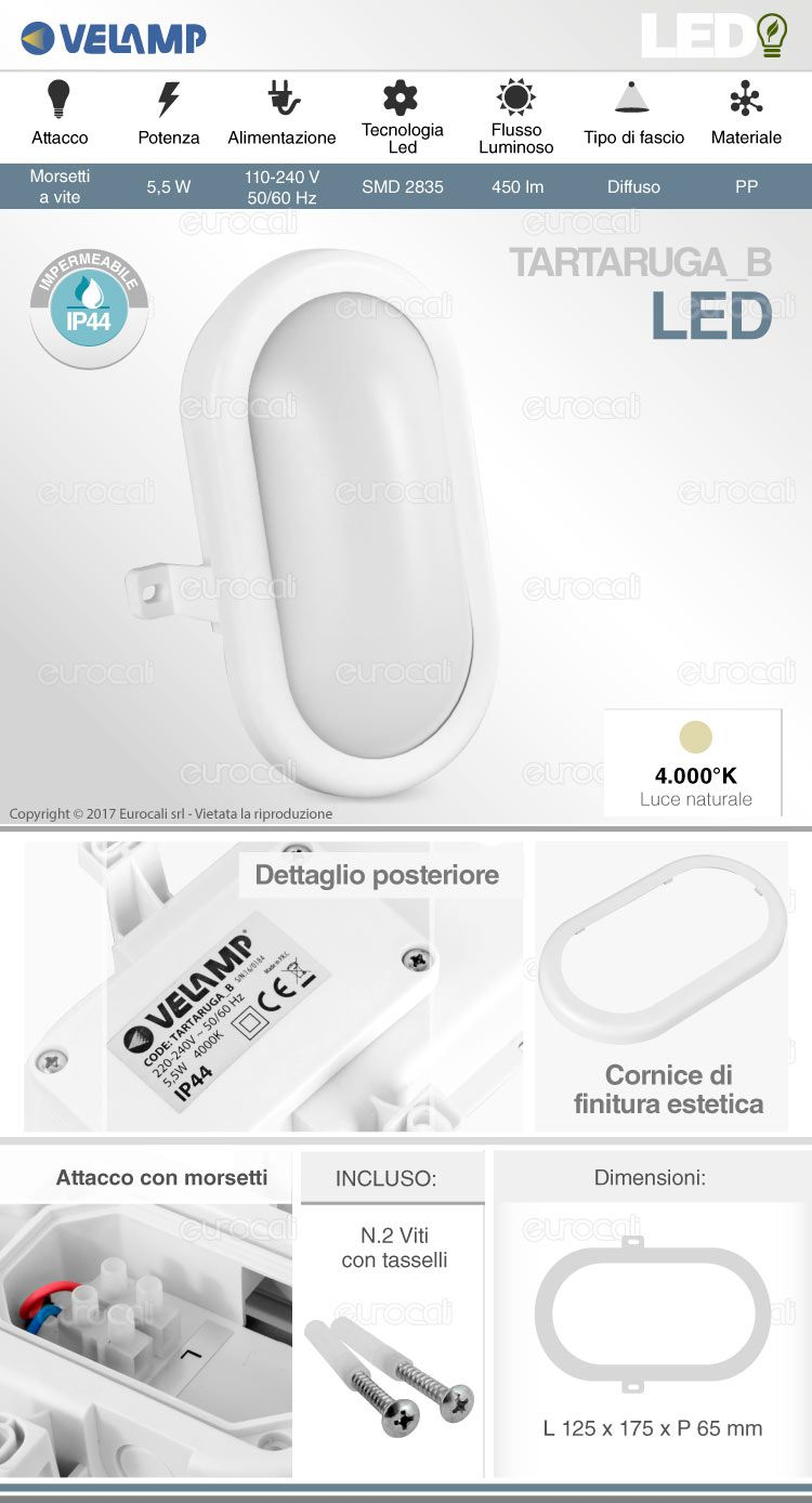 velamp wall light tartaruga bianca