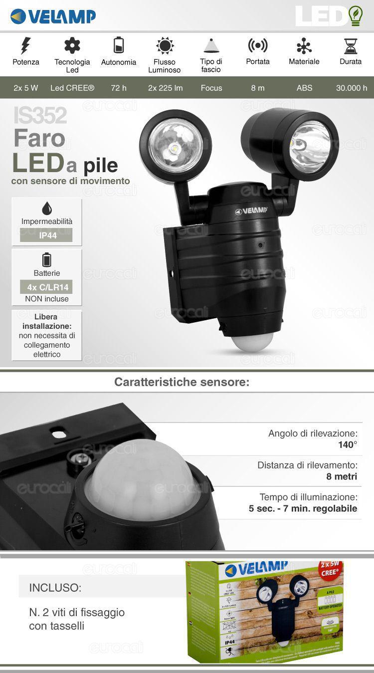 faretto LED velamp a batteria