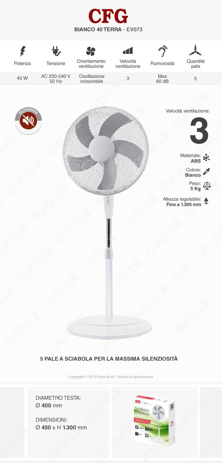 CFG Bianco 40 Ventilatore a Piantana 40 cm