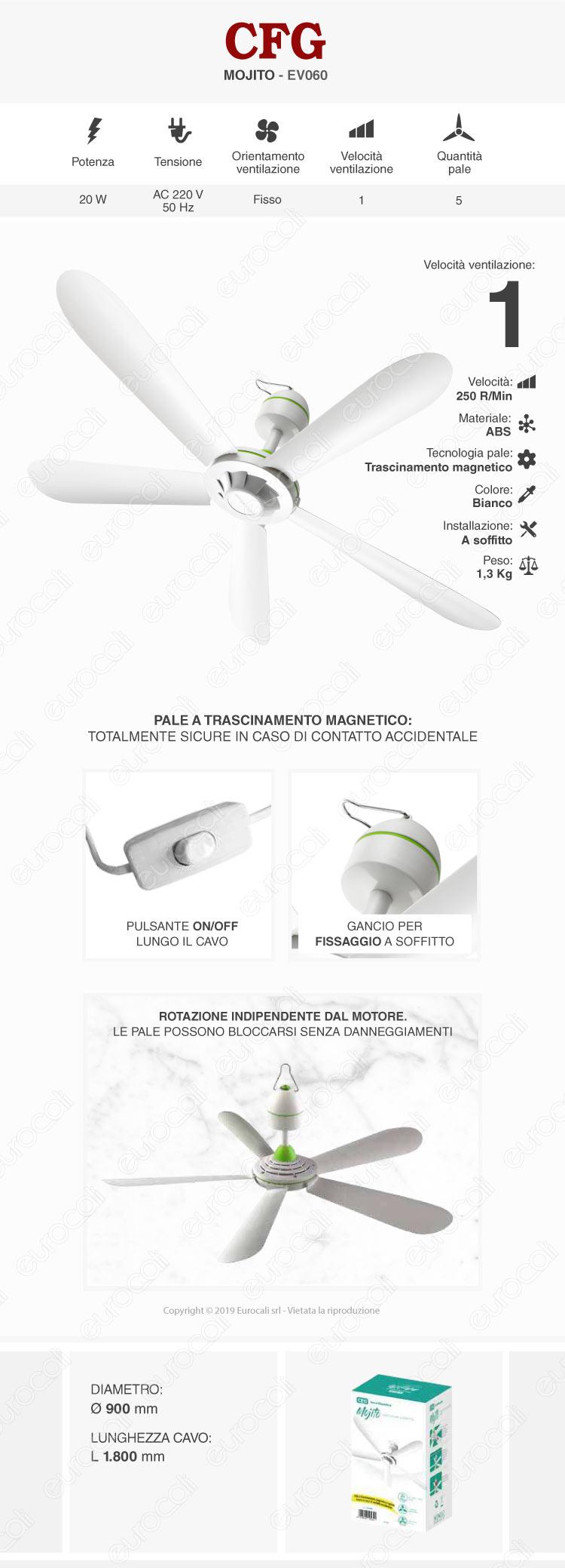 CFG Mojito Ventilatore a Soffitto 90 cm