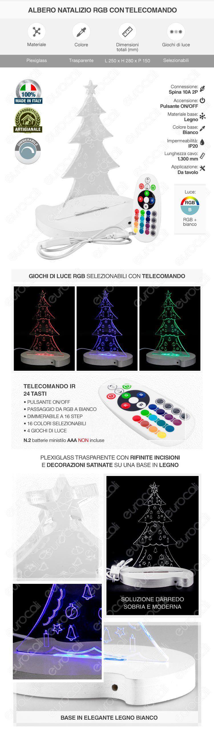 Lampada Albero di Natale in Plexiglass con Disegni Incisi al Laser e Illuminazione LED RGB con Telecomando - Made in Italy