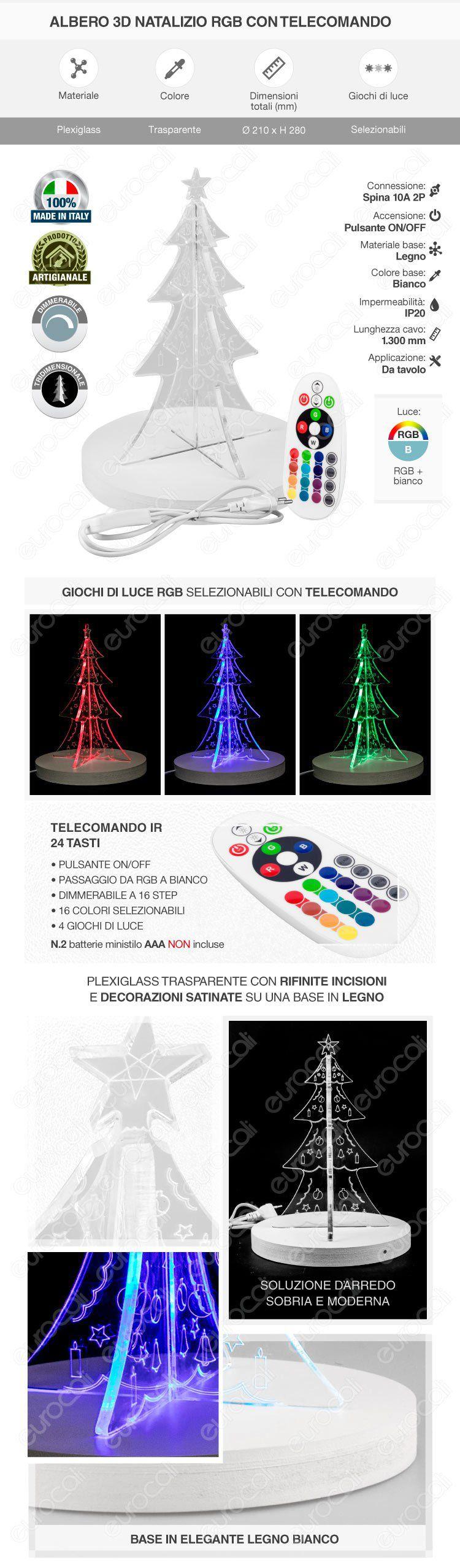 Lampada Albero di Natale 3D in Plexiglass con Disegni Incisi al Laser e Illuminazione LED RGB con Telecomando Made in Italy