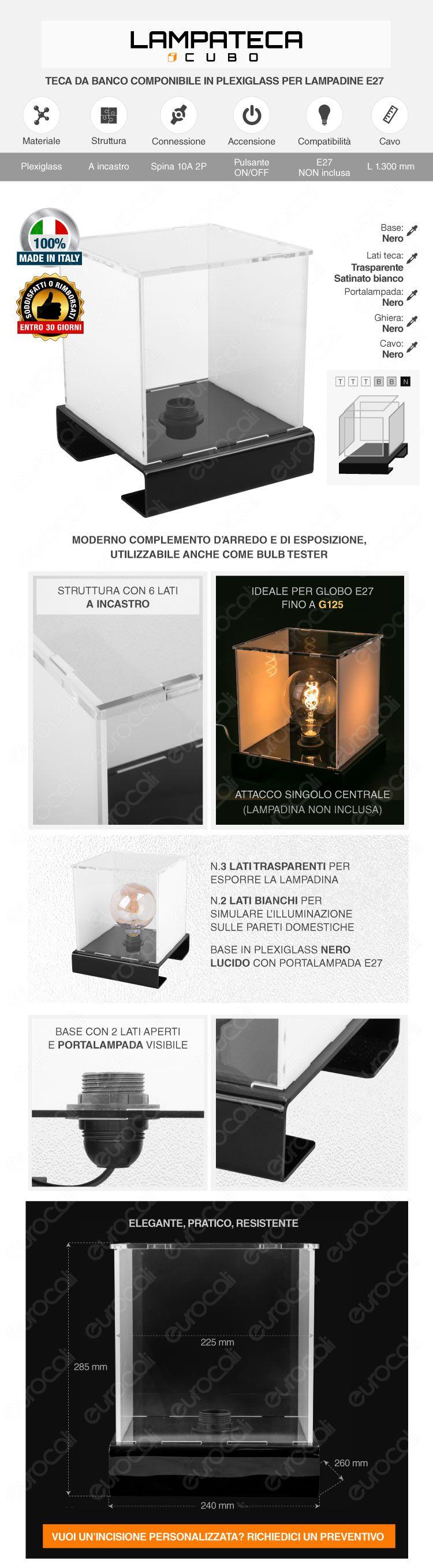 Teca da banco in plexiglass trasparente per una lampadina con attacco E27