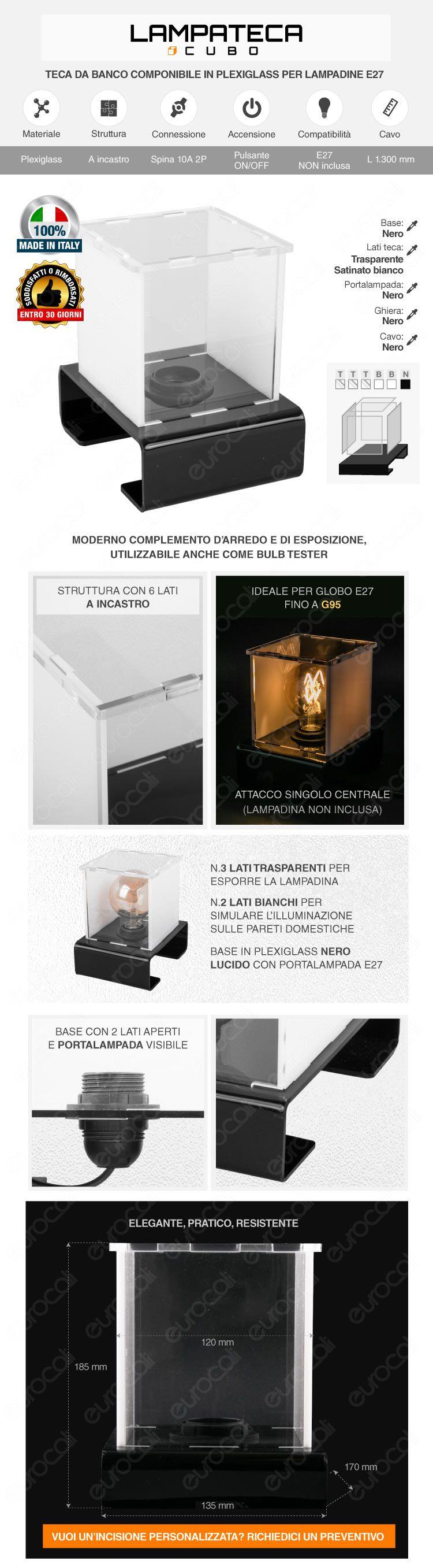 Lampateca Cubo Piccolo Espositore in Plexiglass con Cavo per 1 Lampadina con Attacco E27 Made in Italy