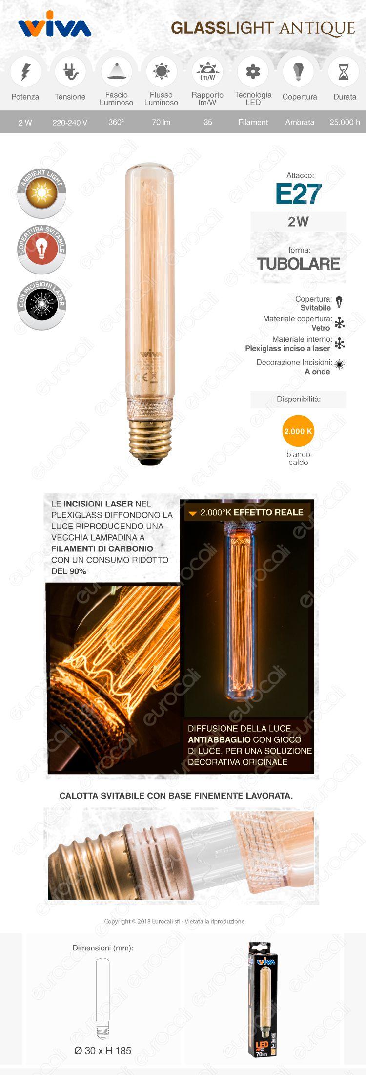 wiva GlassLight Lampadina LED attacco E27 in vetro ambrato