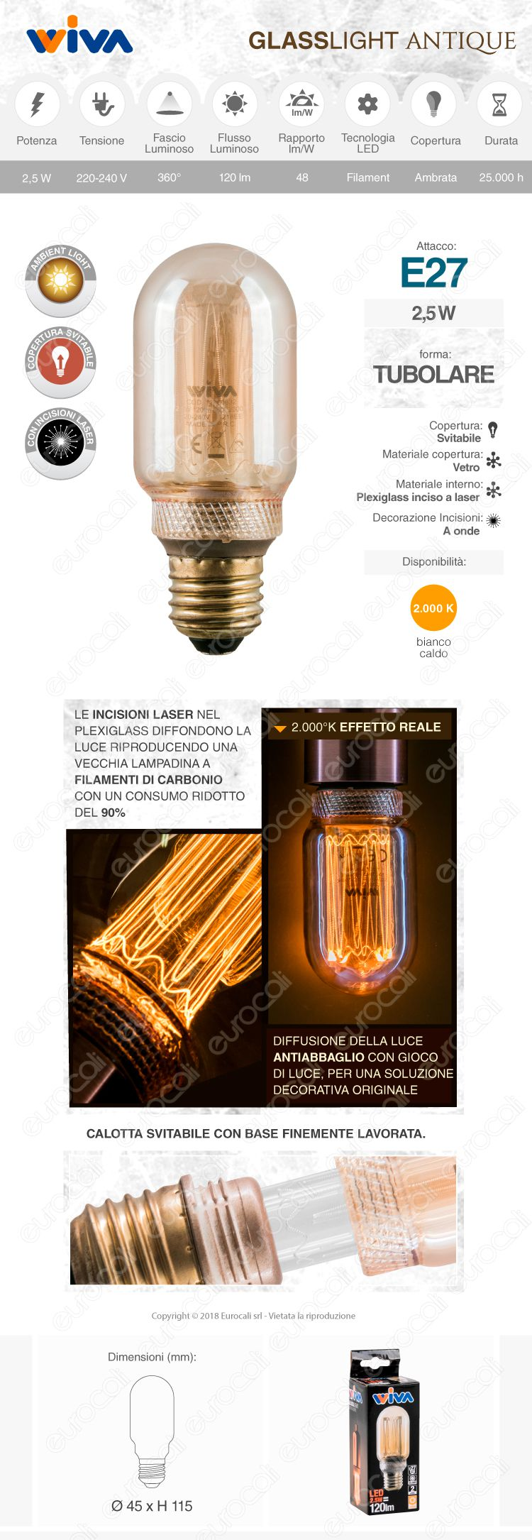 wiva GlassLight Lampadina LED E27 amber
