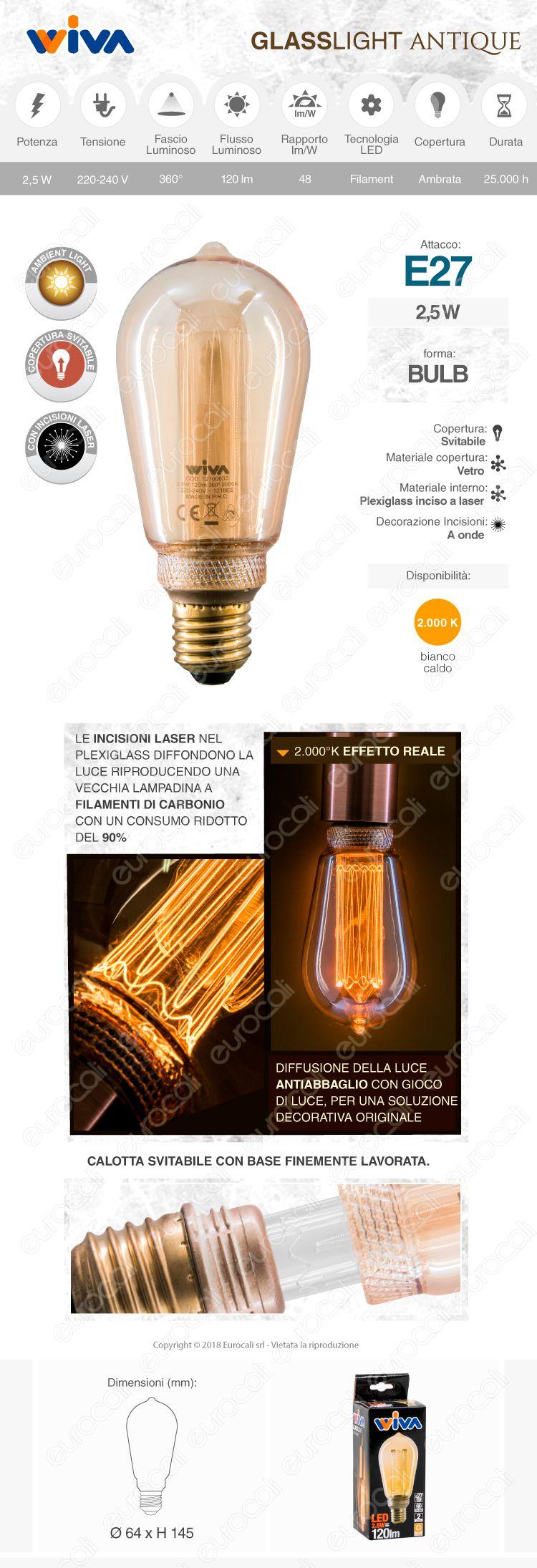 wiva GlassLight Lampadina LED E27 2,5W amber