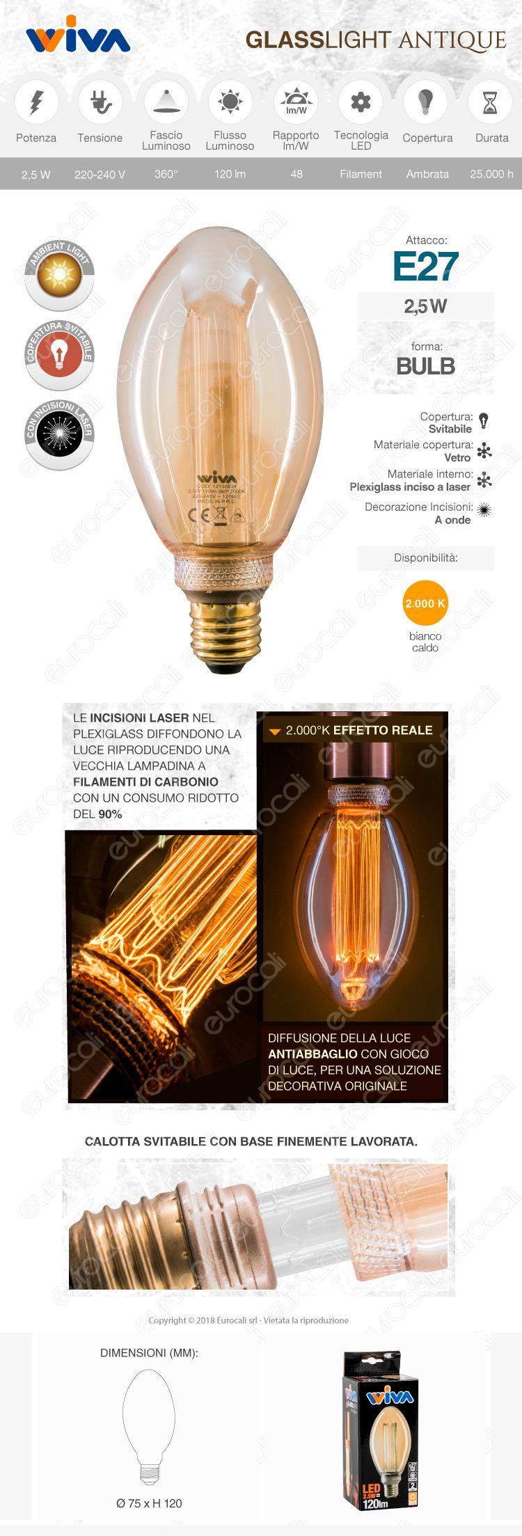 Wiva GlassLight Lampadina LED E27 2,5W Bulb A75 Ambrata con Incisioni Laser