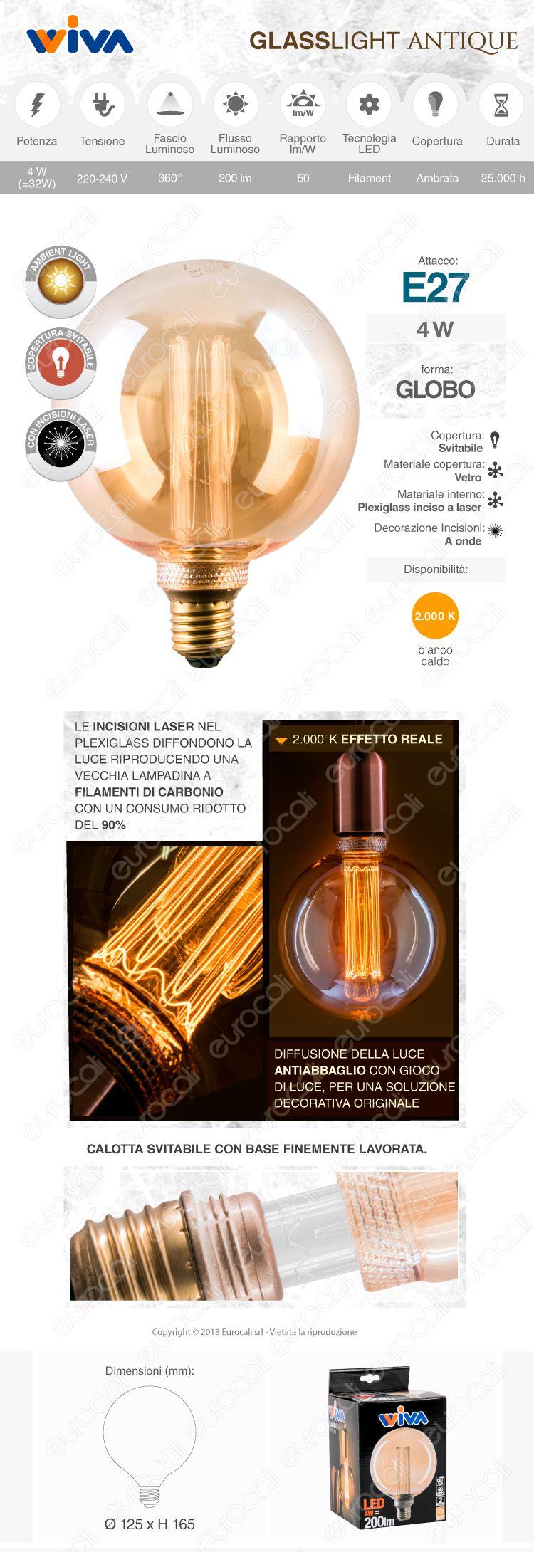 Wiva GlassLight Lampadina LED E27 4W Globo G125 Ambrata con Incisioni Laser