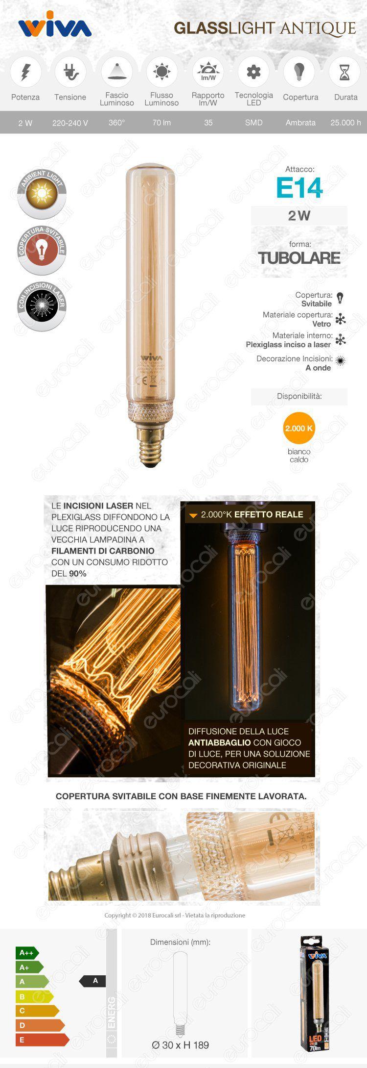 wiva Lampadina tubolare LED E14 amber