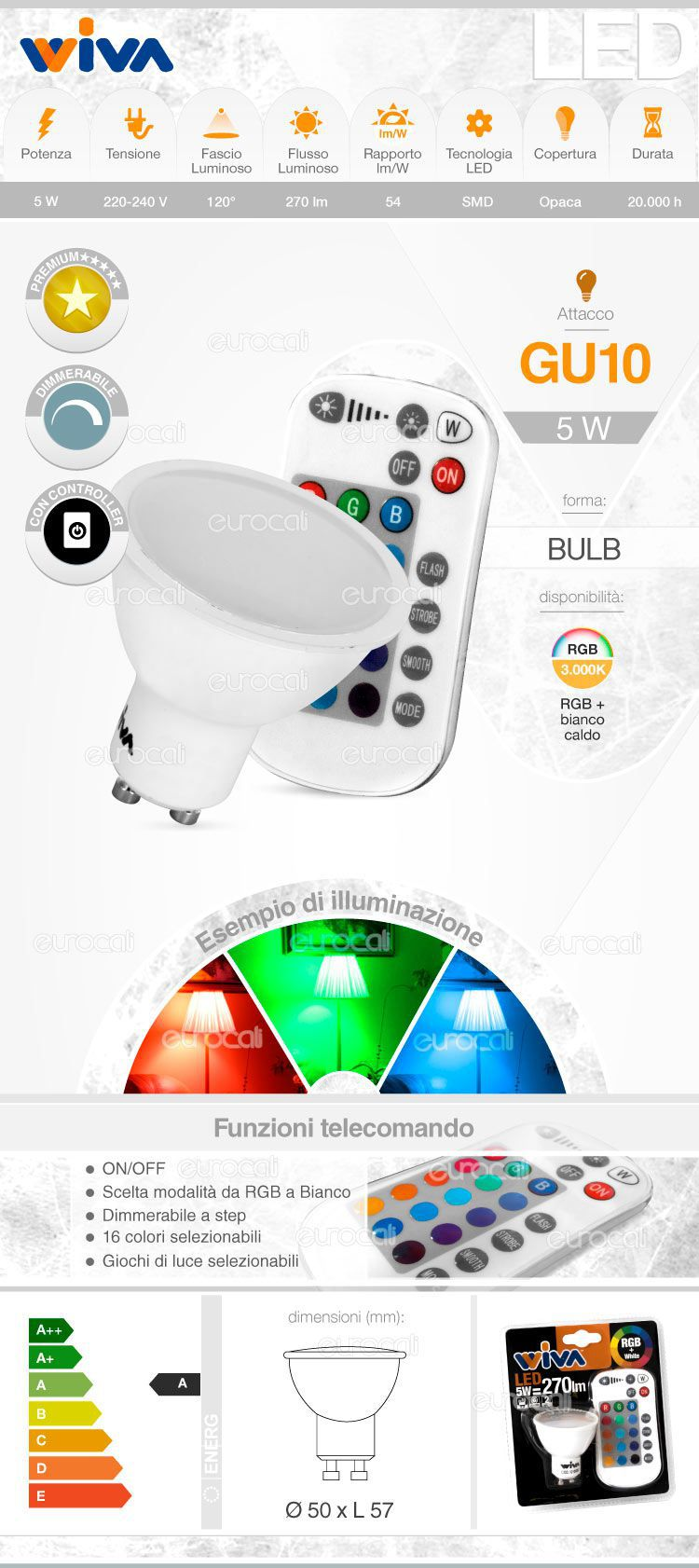 Wiva lampadina LED GU10