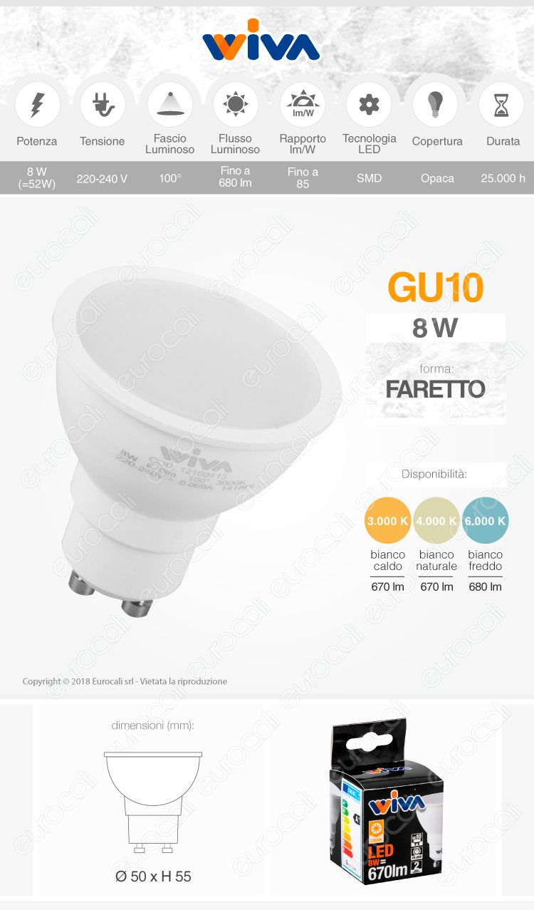 Lampadina LED GU10 8W Wiva Faretto Spotlight 100°