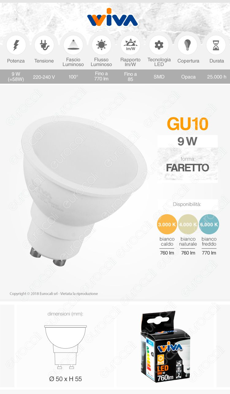 Lampadina Gu10 Faretto spotlight led