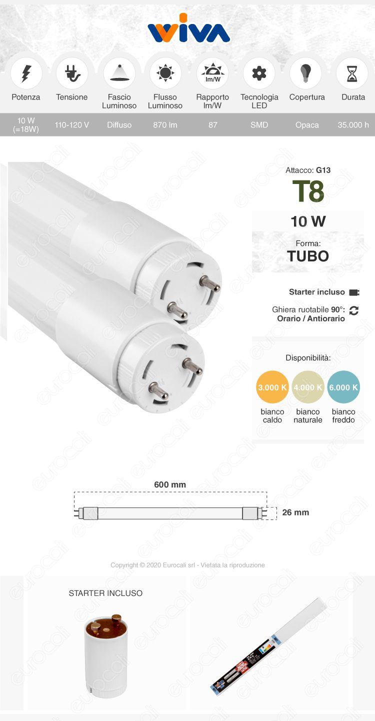 Tubo led t8 g13 wiva