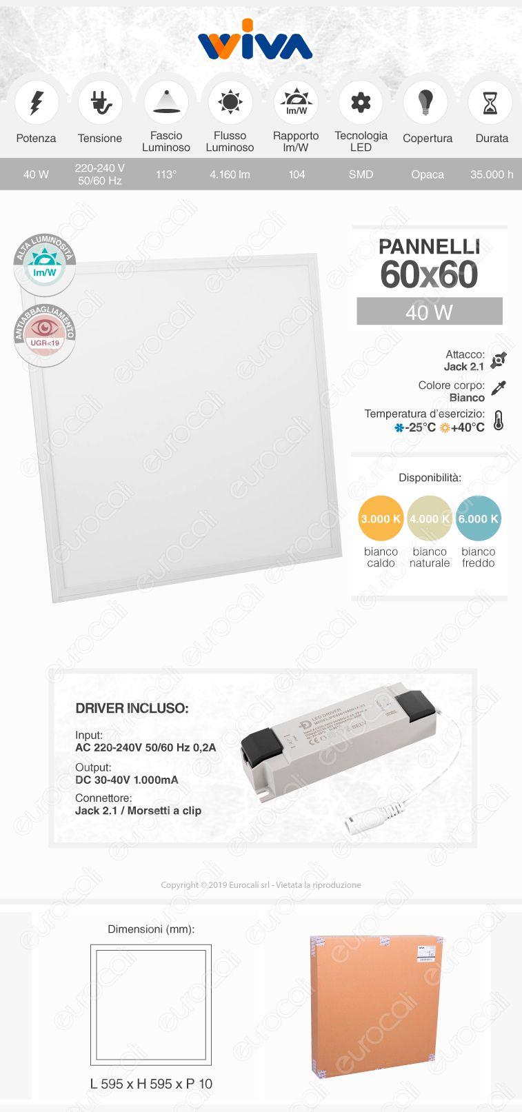 Wiva 5 Pannelli LED 60x60 40W SMD Anti Abbagliamento con Driver