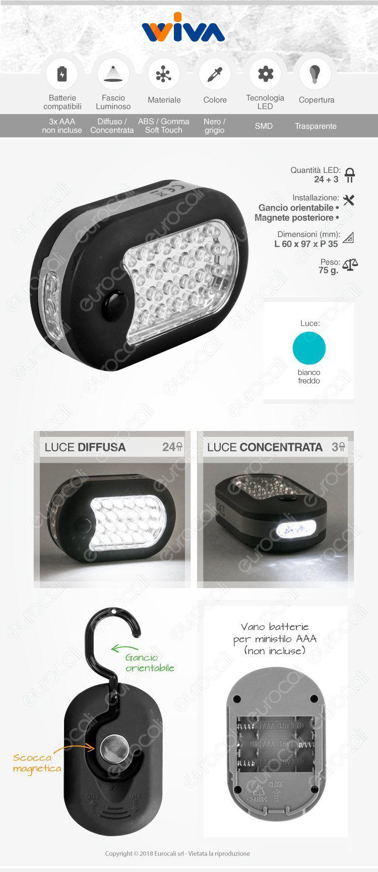 wiva lampada da lavoro 24+4