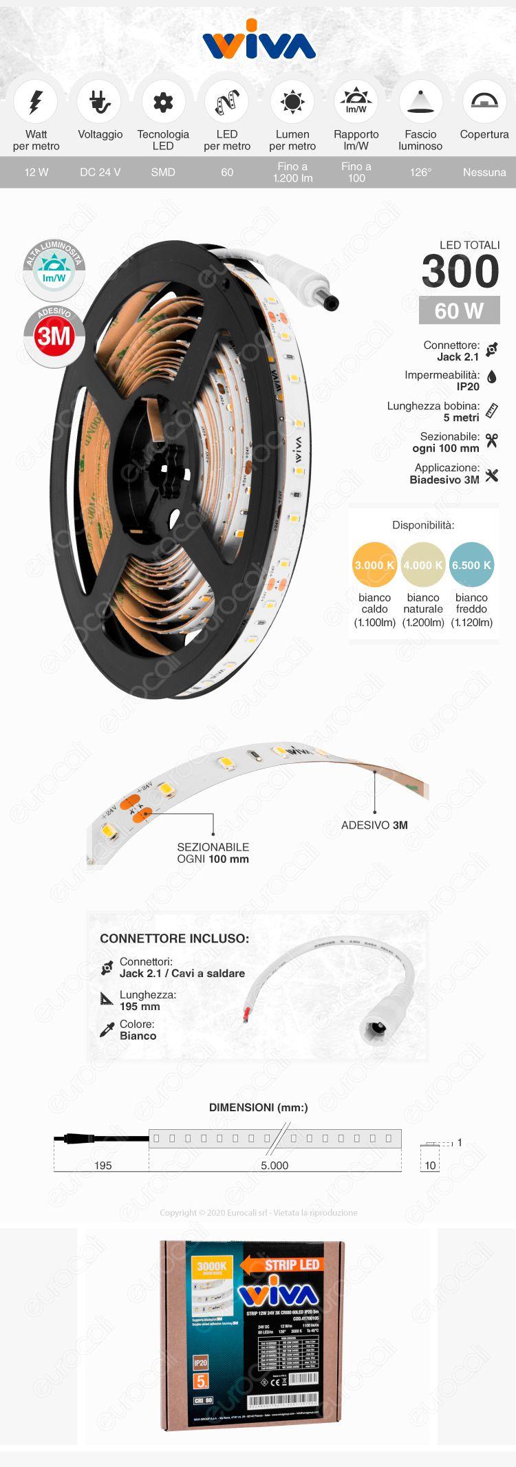 Wiva Striscia LED Monocolore 60 LED/metro 24V - Bobina da 5 metri