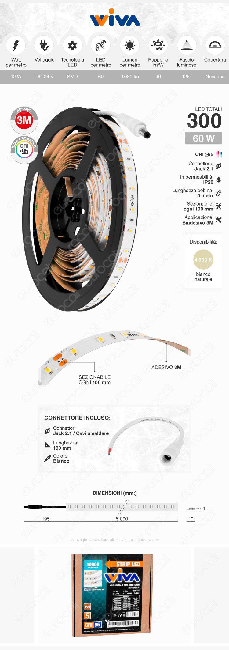 Wiva Striscia LED Monocolore 60 LED/metro CRI 95 - Bobina da 5 metri