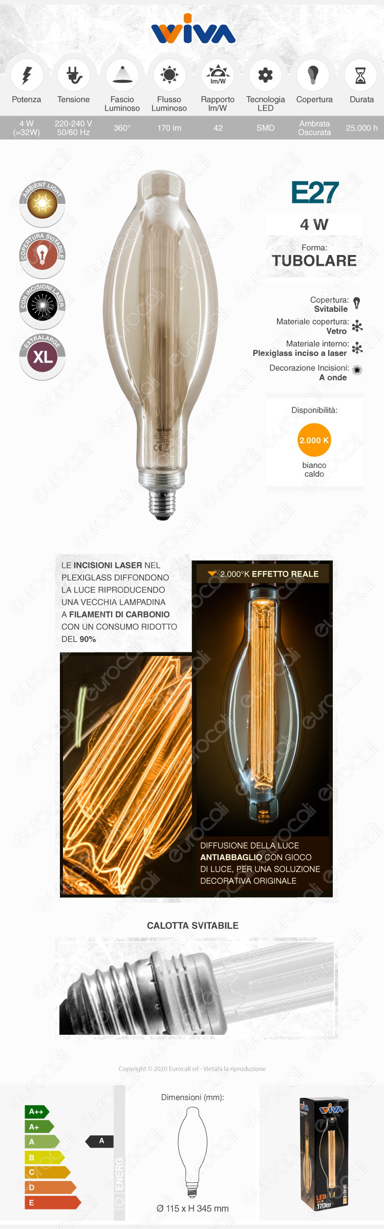 Wiva GlassLight Fumè Lampadina LED E27 4W