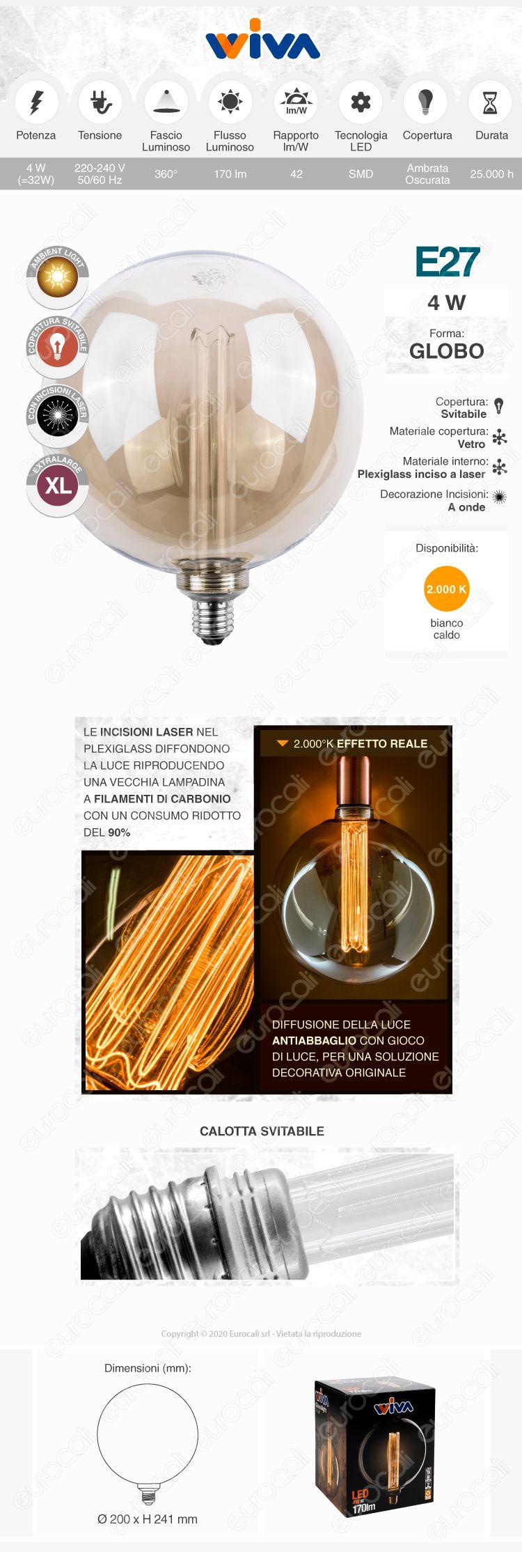Wiva GlassLight Fumè Lampadina LED E27 4W Globo G200