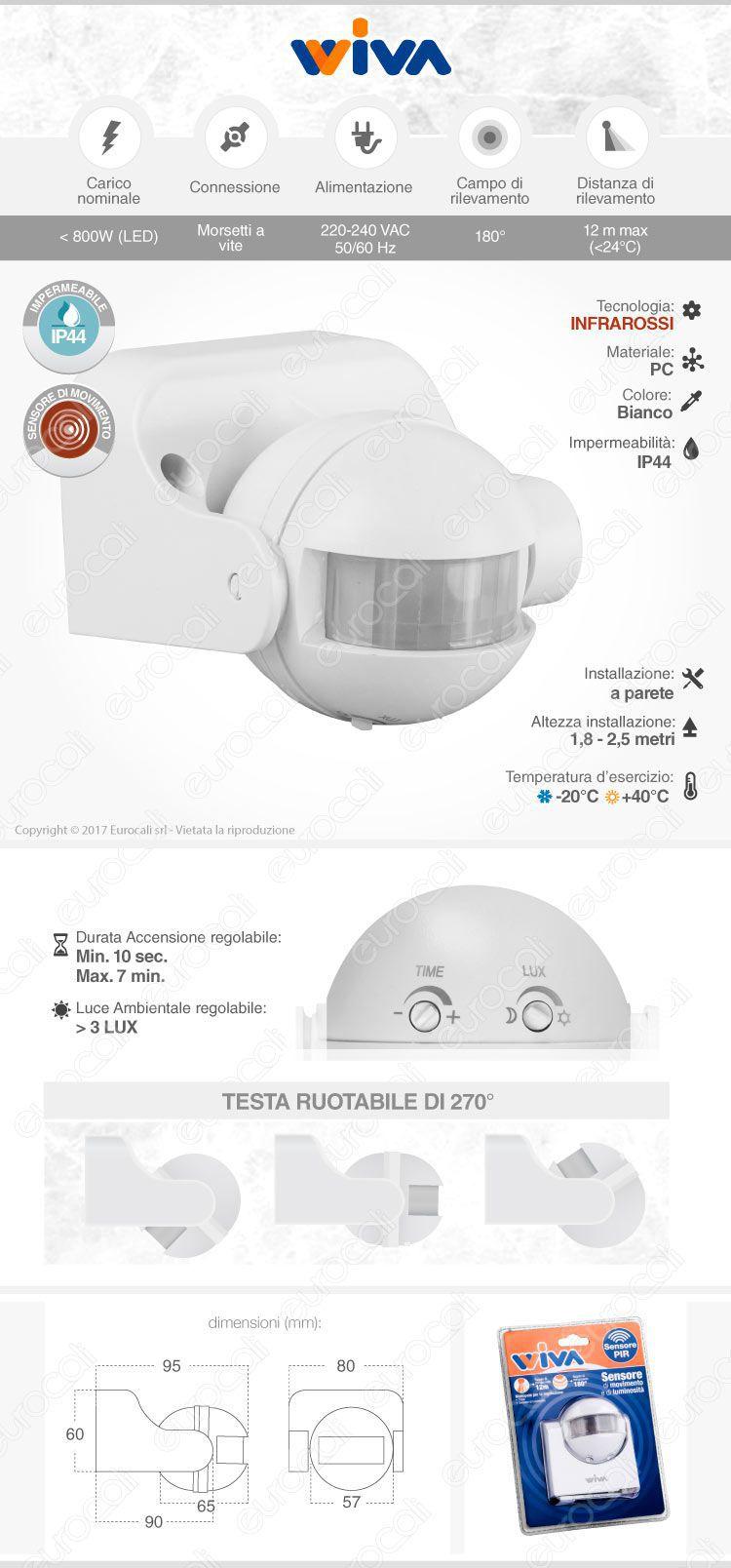 Sensore di movimento per lampadine led da muro a infrarossi