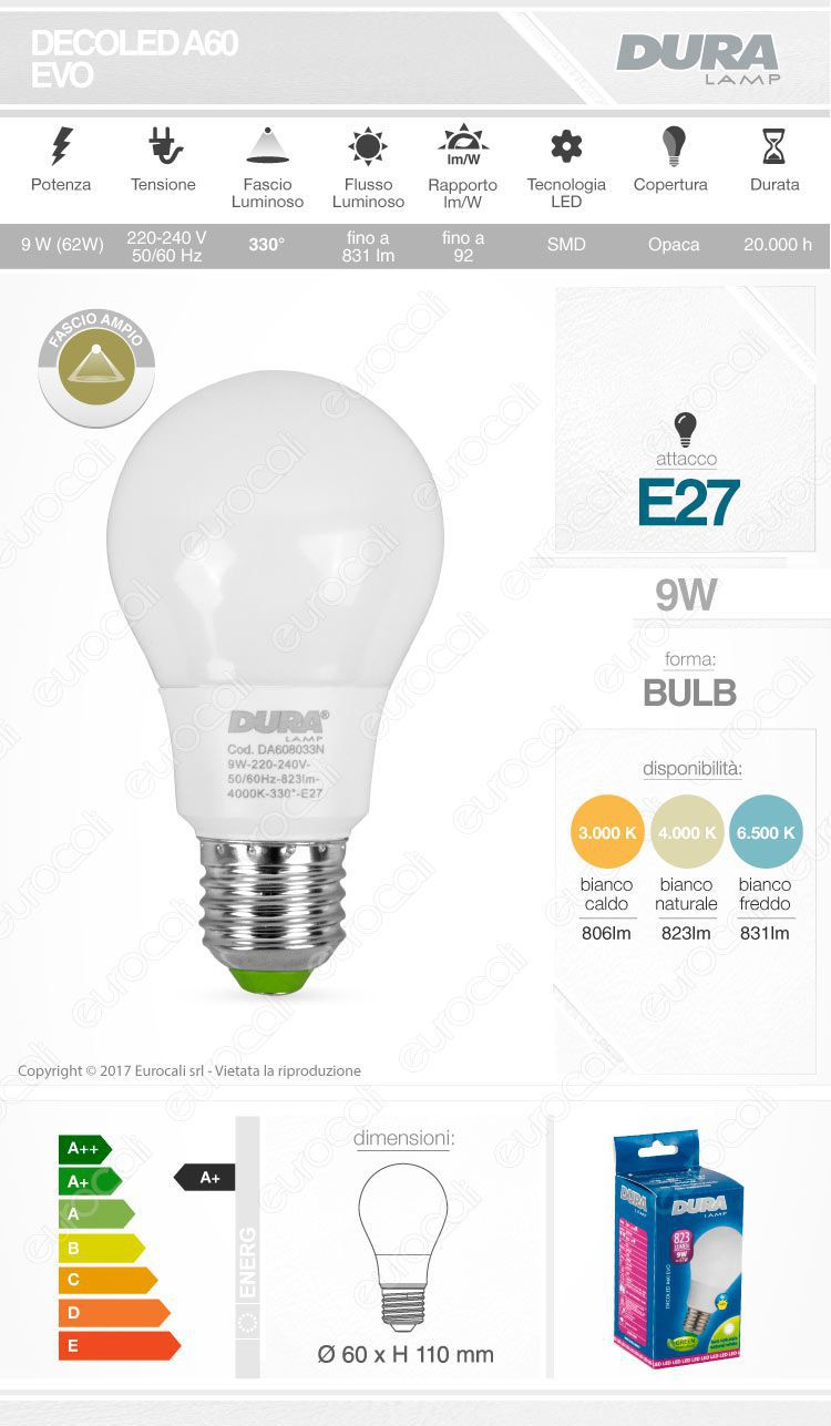 Lampadina led e27 duralamp decoled evo da 9w bulb a60 for Lampadina e27