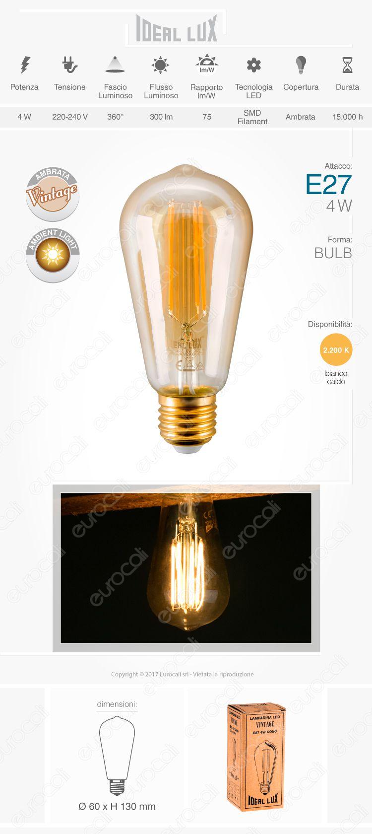 lampada led e27 ideal lux