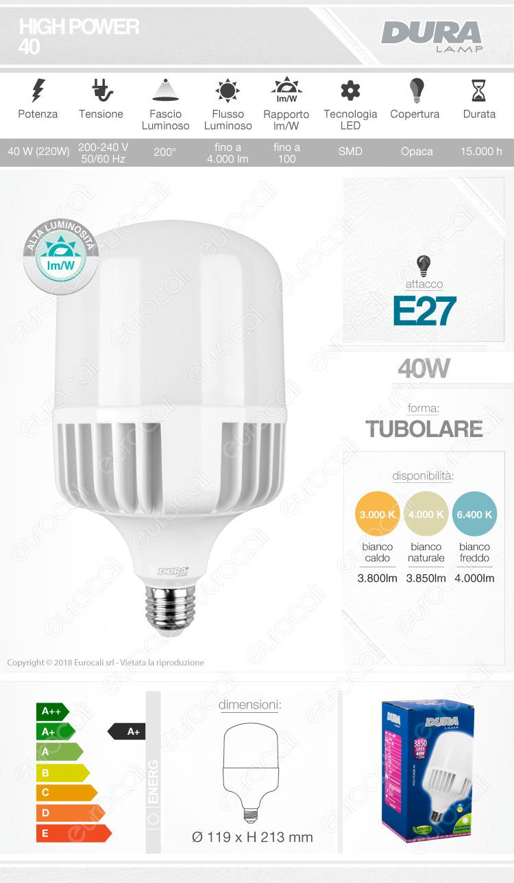 Lampadina LED hi-power duralamp