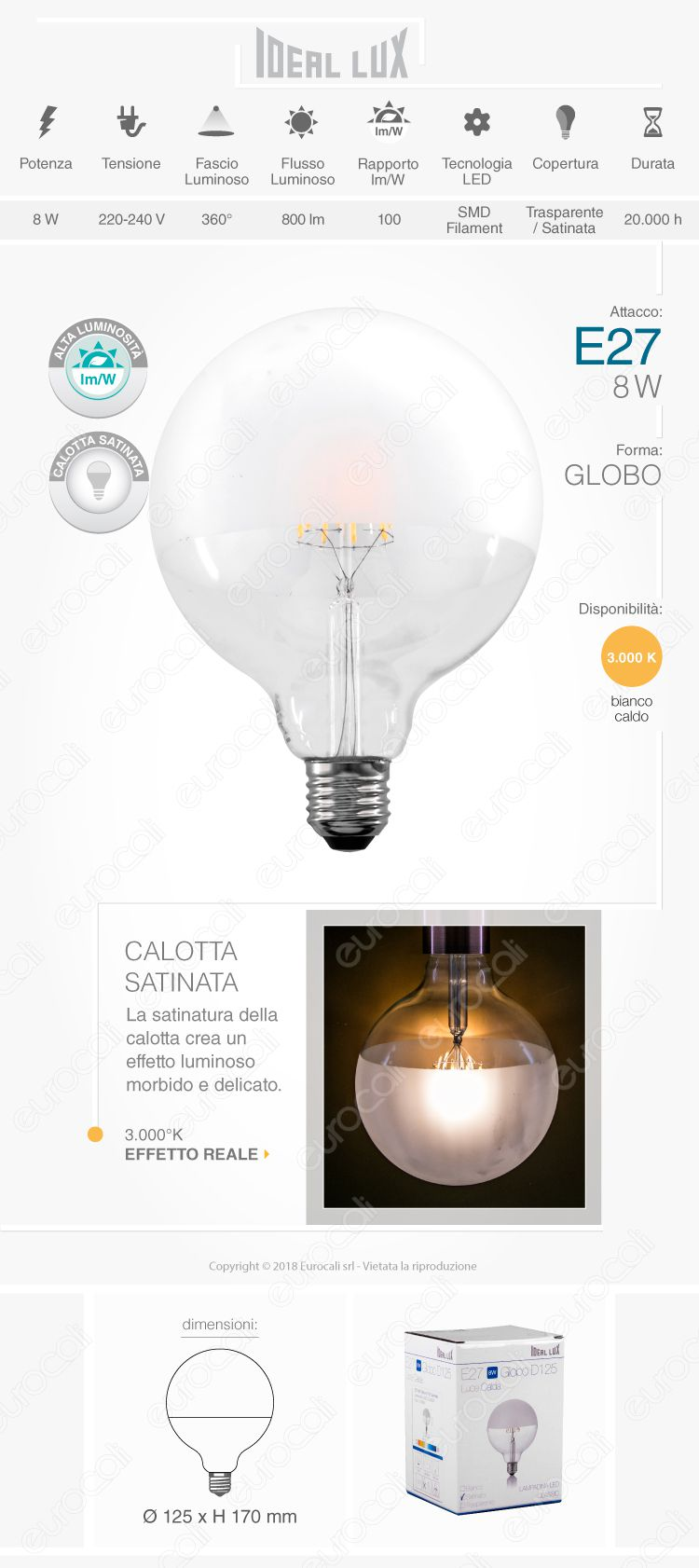 lampada led e27 ideal lux