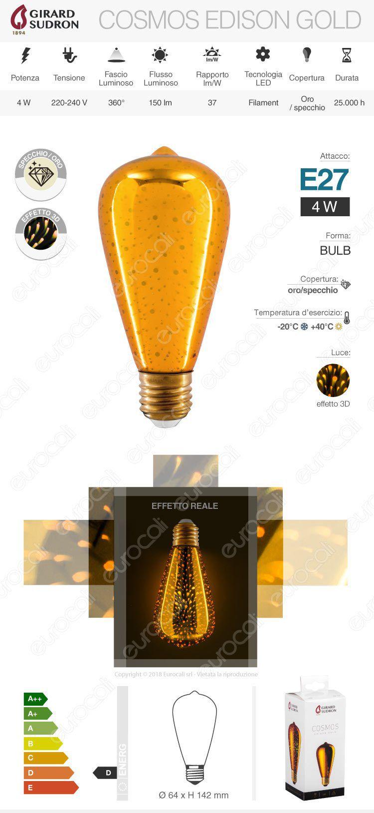 lampada led e27 girard sudron 3d