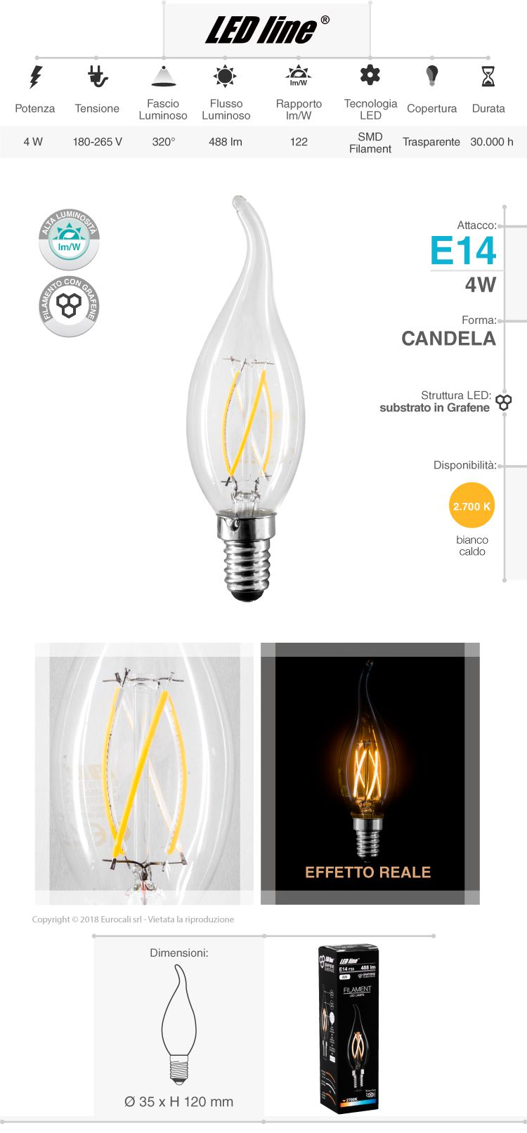 Led Line lampadina LED E14