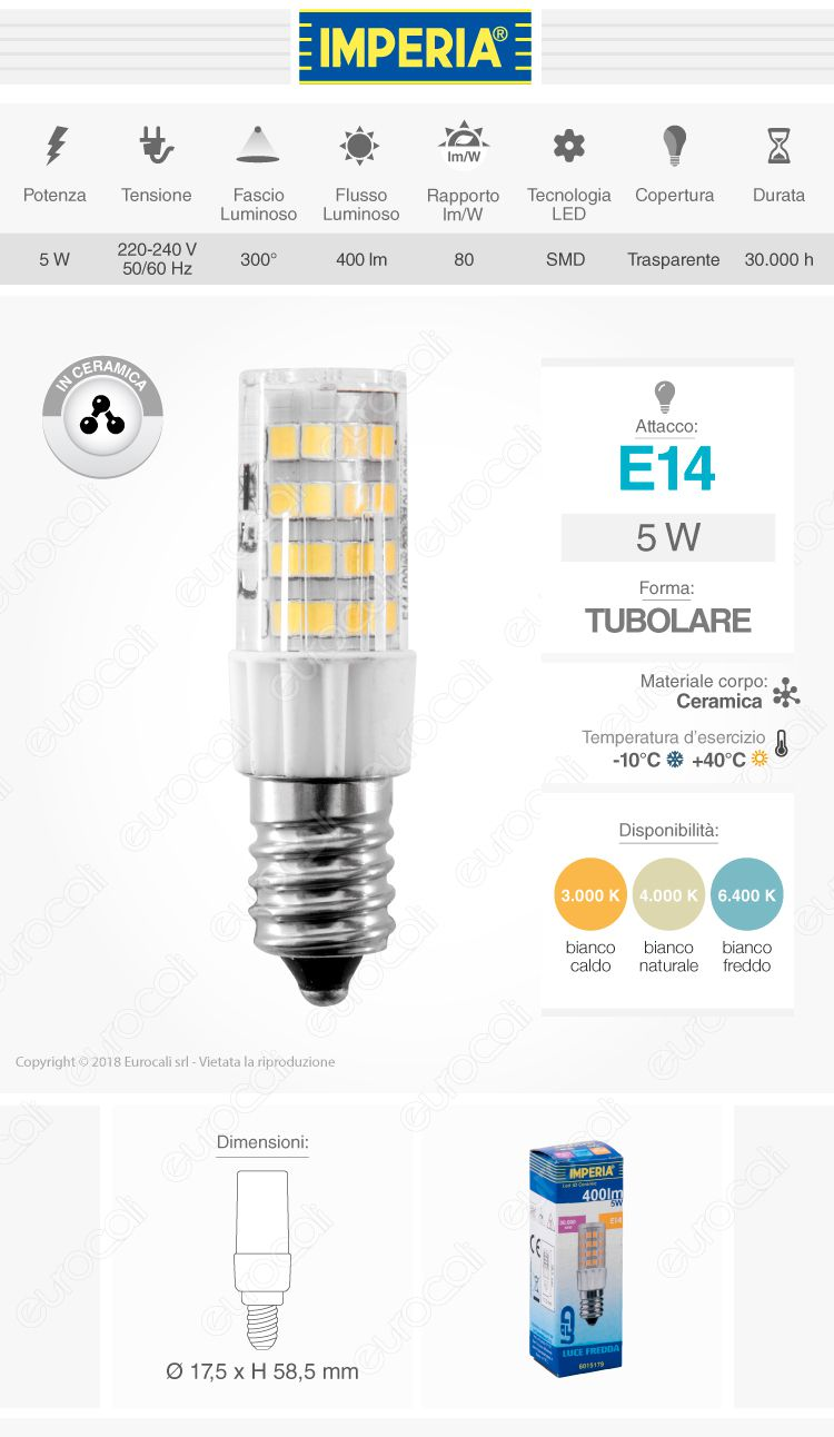 Imperia JD Ceramic Lampadina LED E14 5W Tubolare