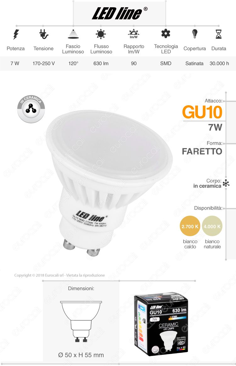 Led Line lampadina LED GU10 ceramic