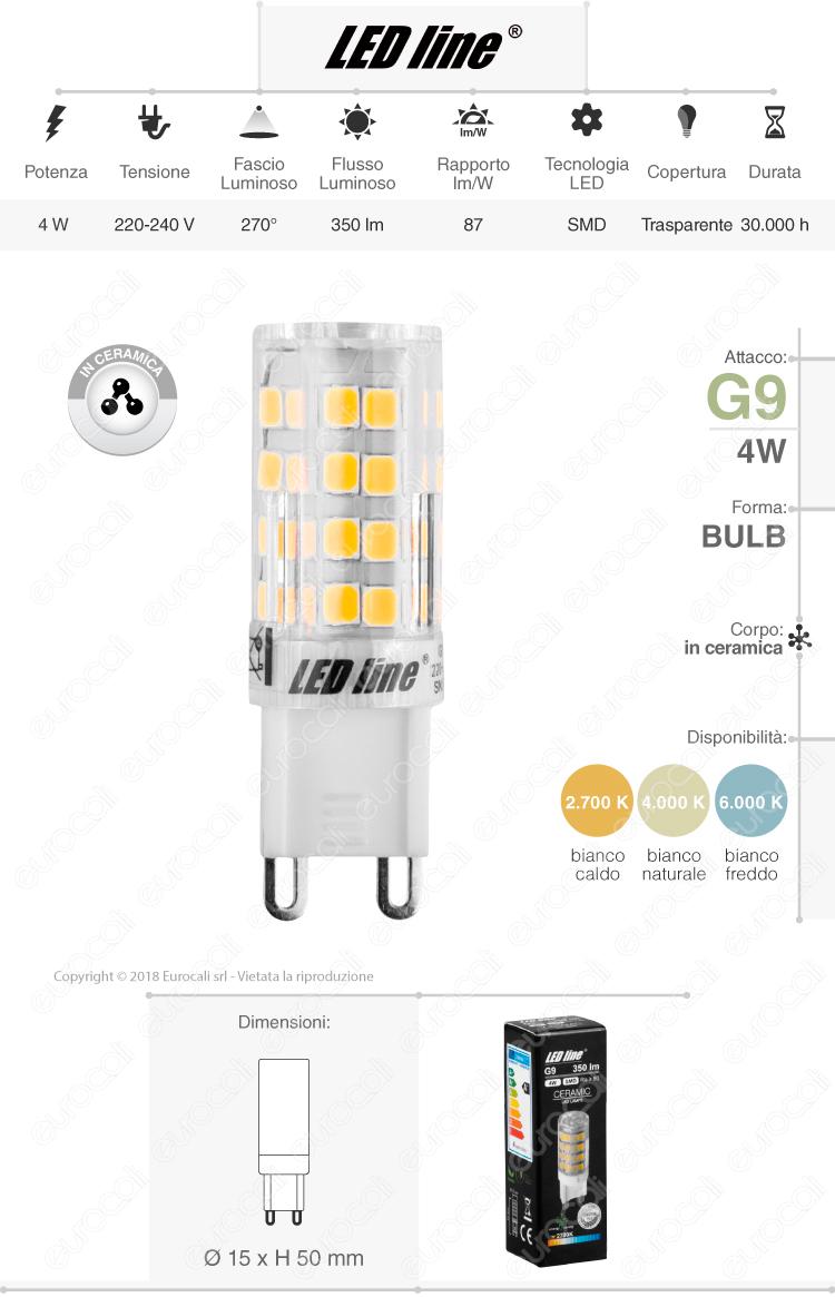Lampadina LED LED Line G9 4W Bulb Ceramic - mod. 245480 / 245534 / 245541