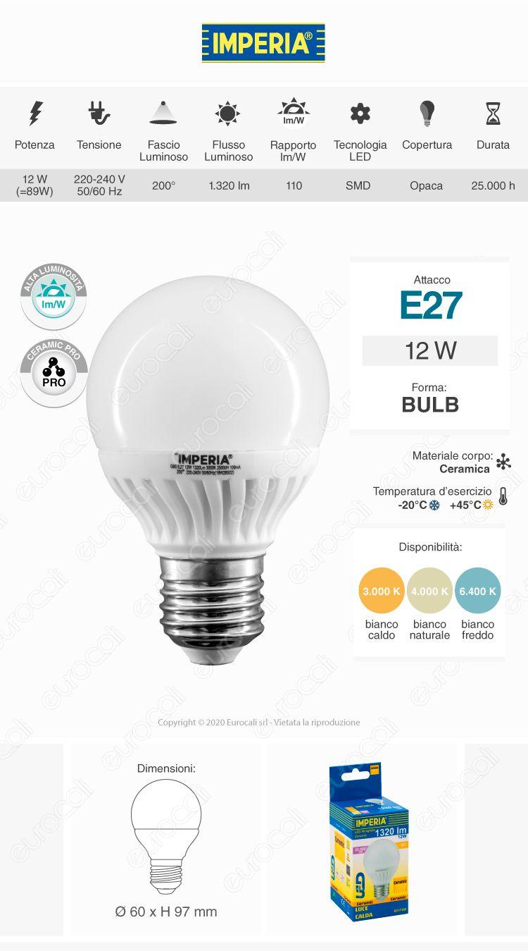 Imperia Lampadina LED E27 12W Ceramic