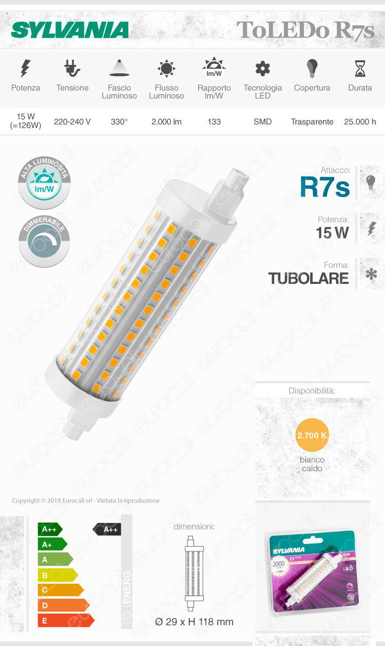 Sylvania toledo lampadina led r7s 15w tubolare dimmerabile for R7s led dimmerabile