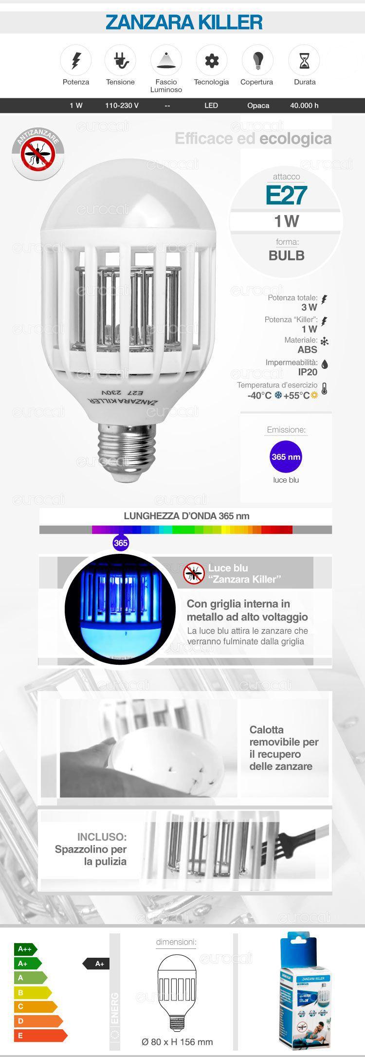 Ammazza zanzare lampadina led zanzara killer e27 1w bulb for Lampadina led blu